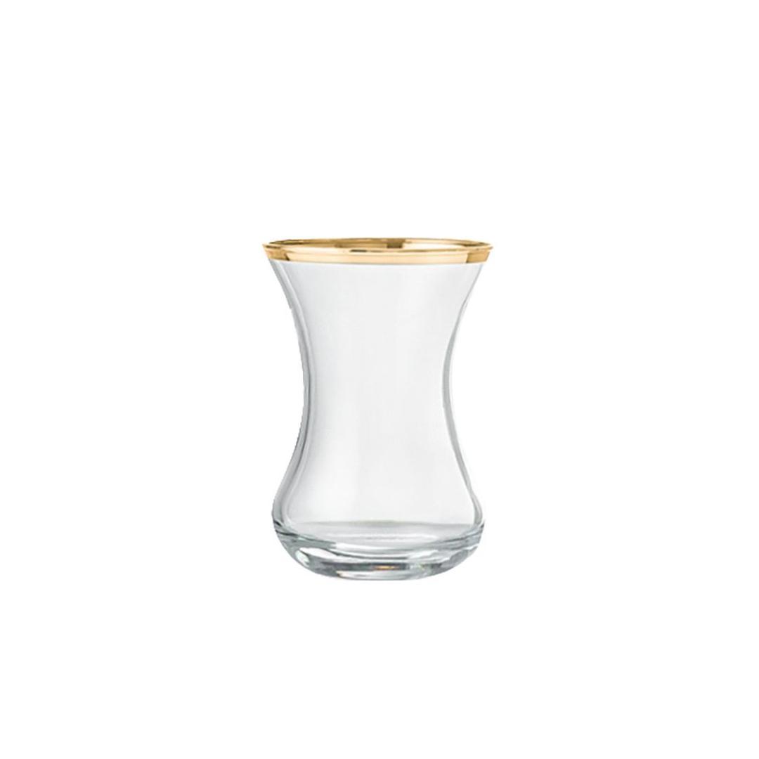 Jumbo Ribbon Gold İnce Belli 6'lı Çay Bardağı