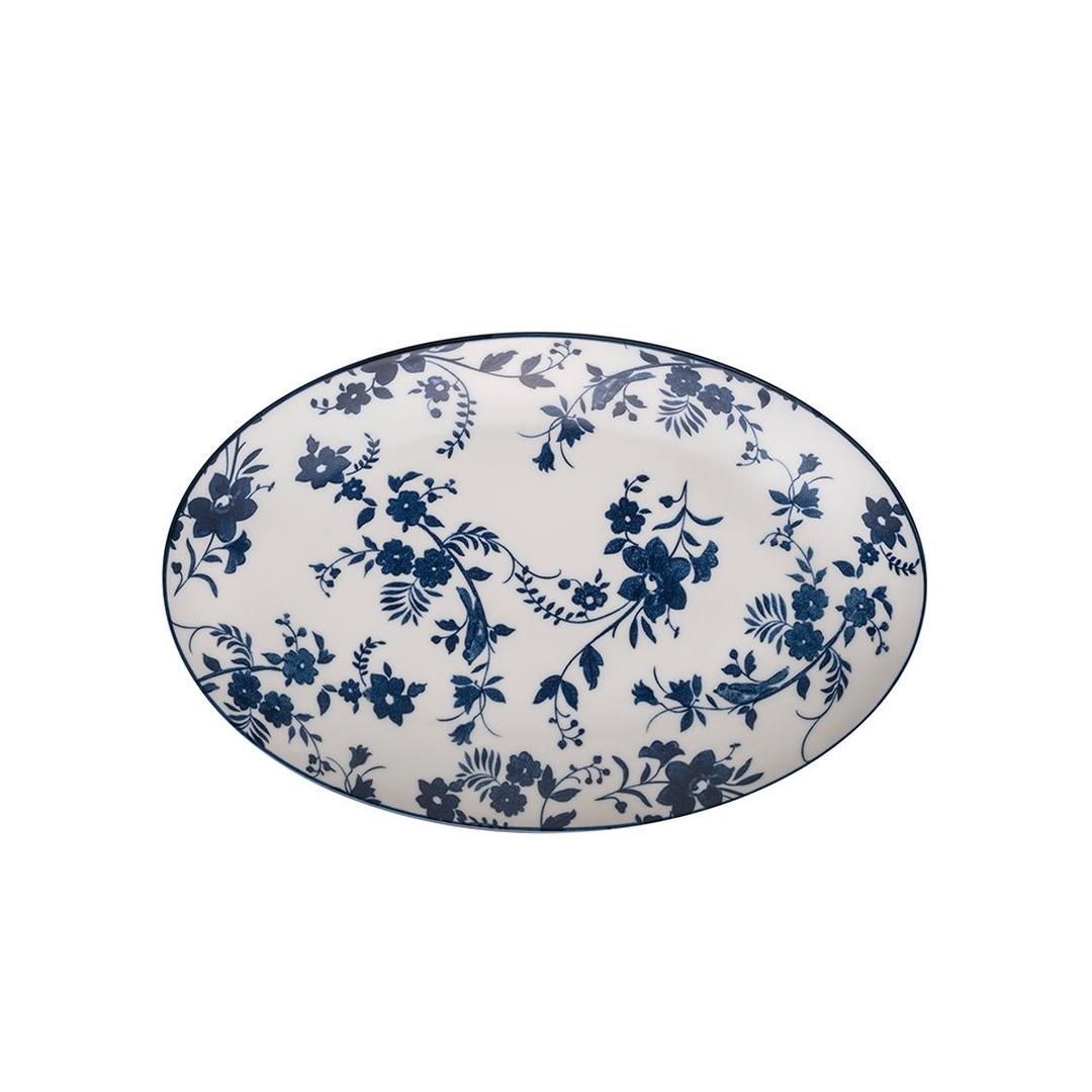 Jumbo Deep Blue Çiçekli Kayık Tabak 31 cm