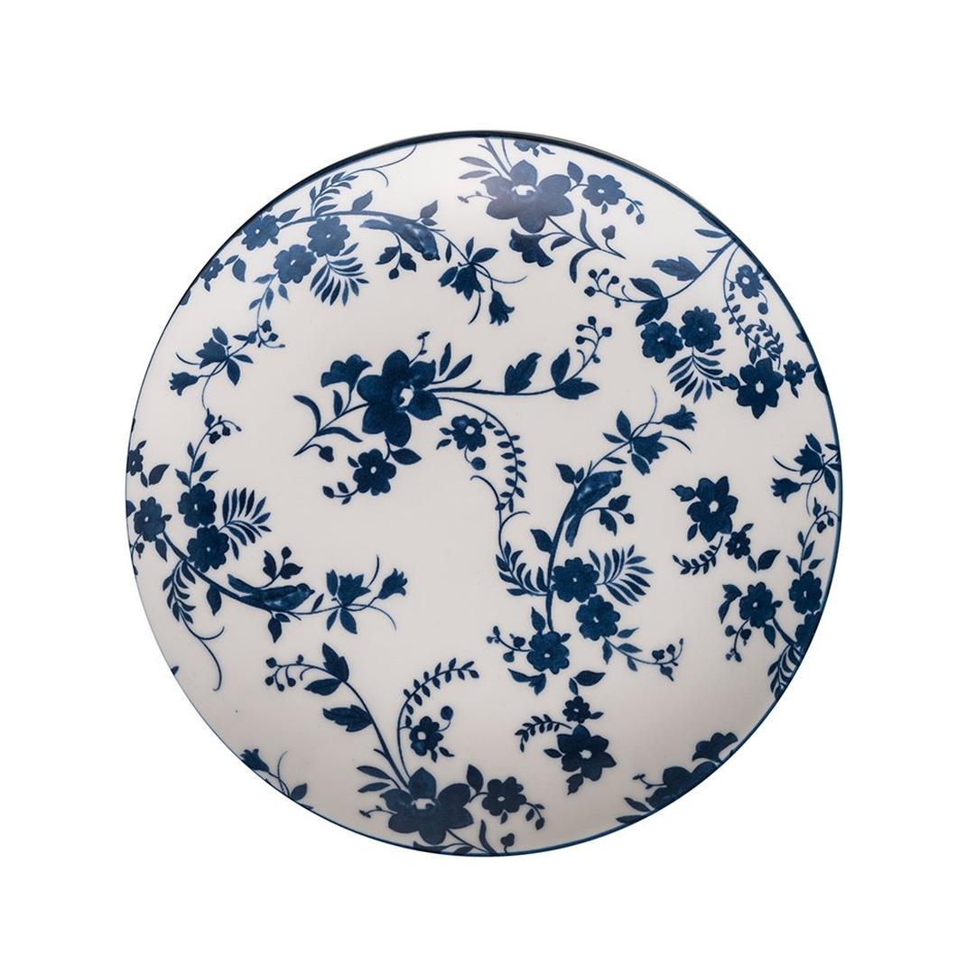 Jumbo Deep Blue Çiçekli 26 Cm Düz Tabak