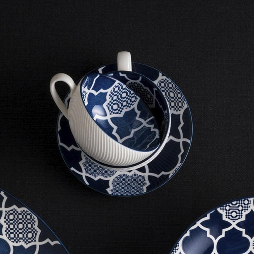 Jumbo Deep Blue Desenli 14 cm Çay Fincanı Tabağı  ( Fincansız)
