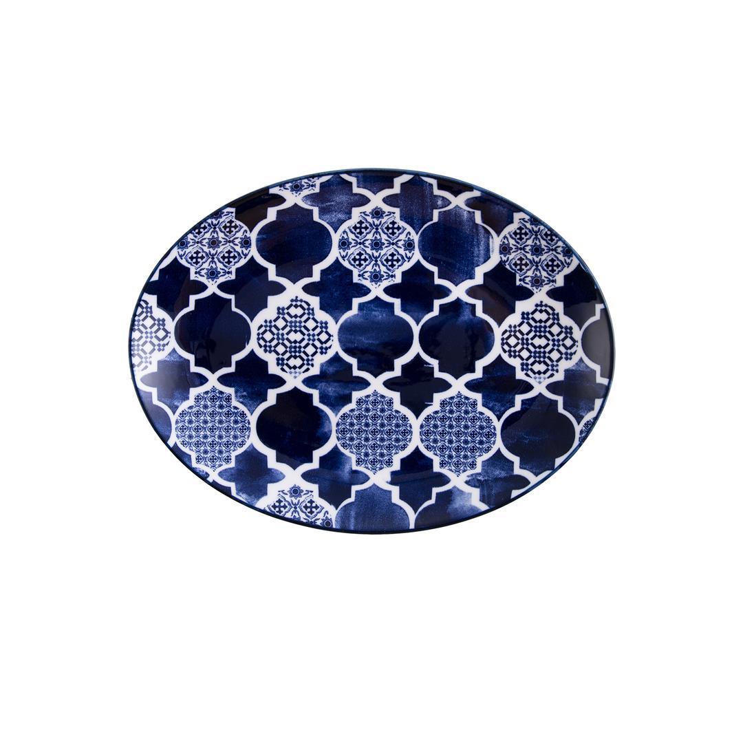 Jumbo Deep Blue Desenli Kayık Tabak 25 cm