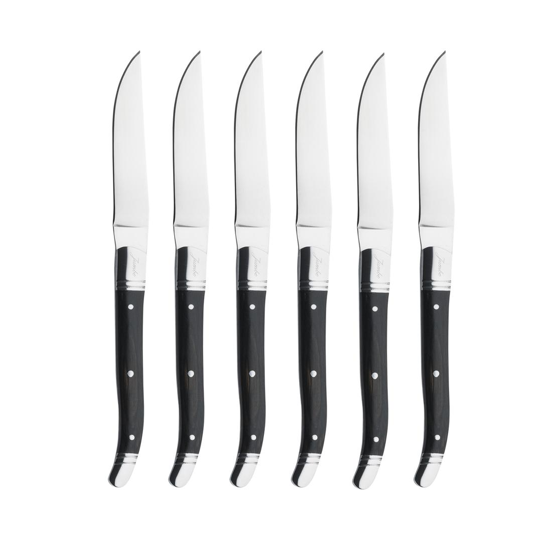 Jumbo Lucca 6 Parça Biftek Bıçak Seti Siyah