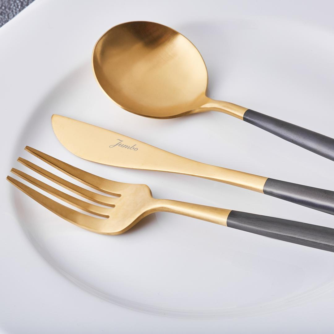 Jumbo Colors 30 Parça Çatal Kaşık Bıçak Seti Siyah Mat Altın