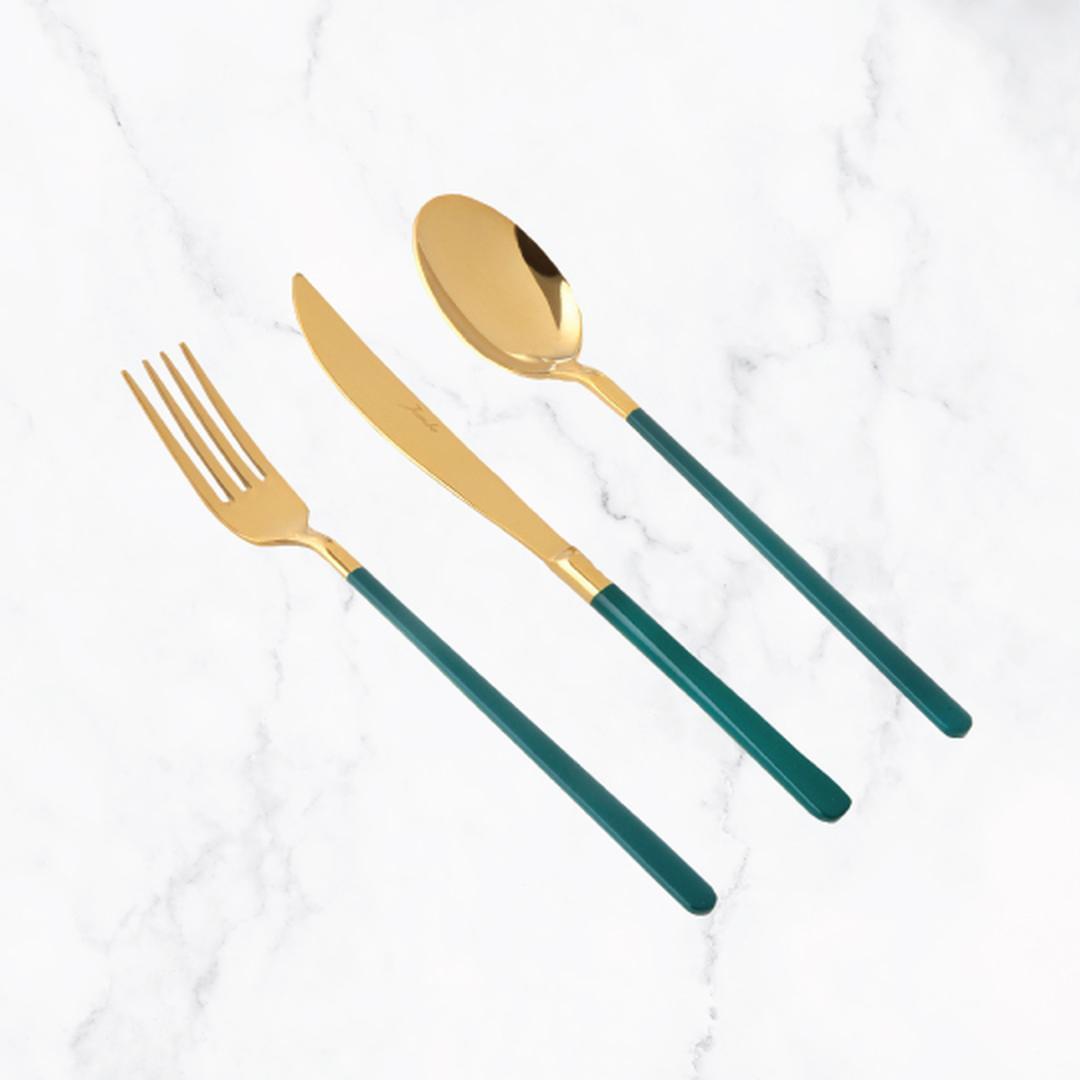 Jumbo Paint Green Titanyum Gold 6 Kişilik 18 Parça Çatal Kaşık Bıçak Takımı