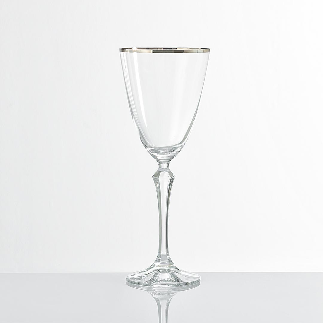 Jumbo Ribbon Platin 6'lı Şarap Kadehi