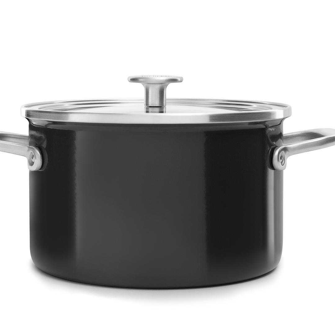 Kitchenaid Art.  Onyx Black 20cm Emaye Çelik Tencere-CC003265