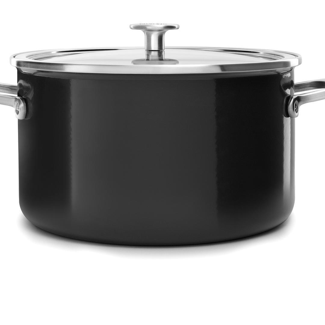 Kitchenaid Art. Onyx Black 24cm Emaye Çelik Tencere- CC003268