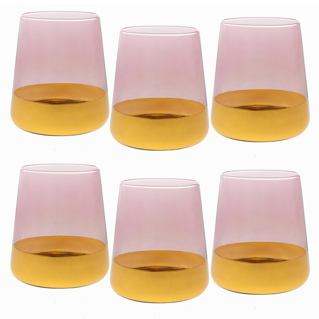 Jumbo Gala 6'lı Pembe Altın Su Bardağı