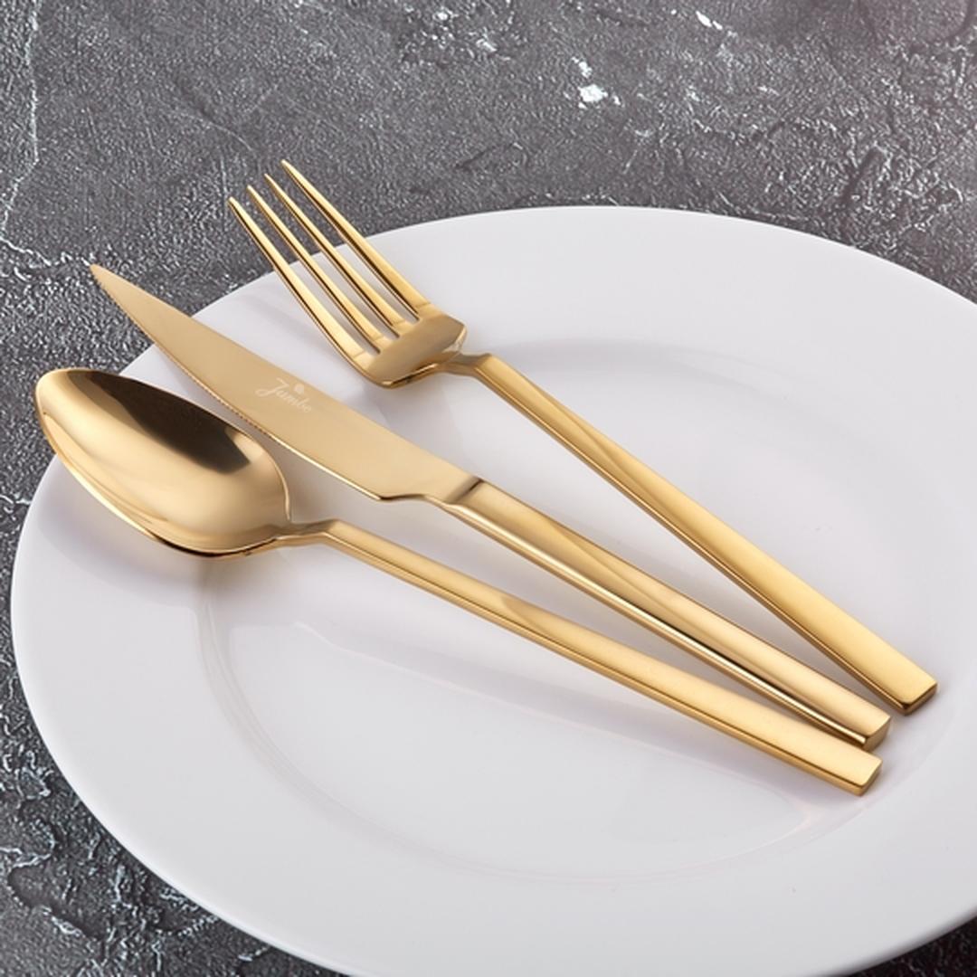 Jumbo 1800 18 Parça 6 Kişilik Titanyum Gold Çatal Kaşık Bıçak Seti