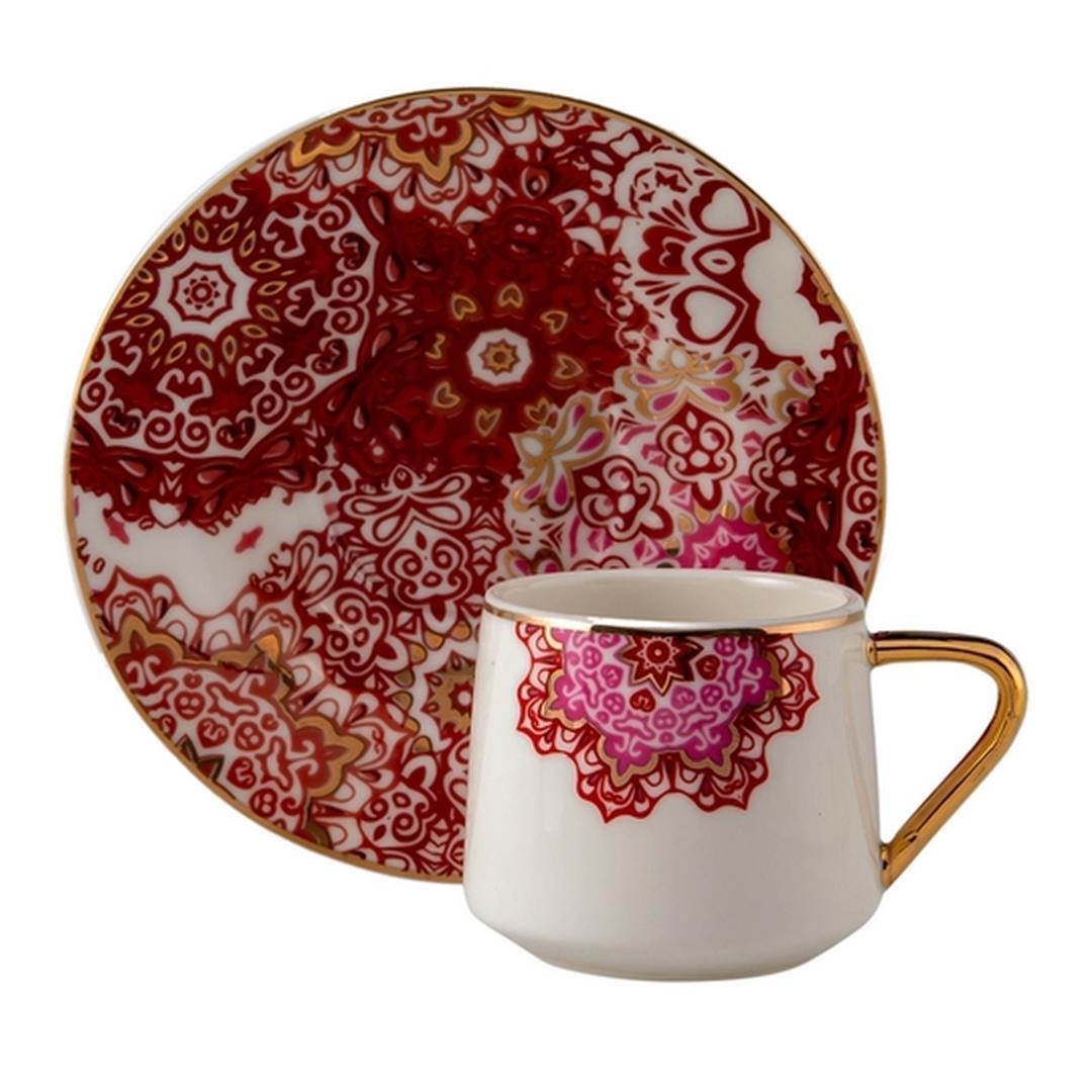 Jumbo Red Lace 2 Kişilik Kahve Fincan Takımı