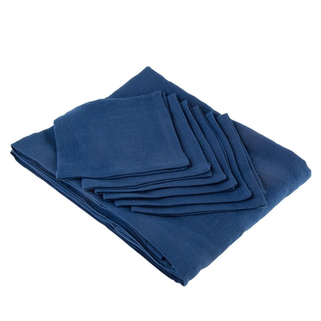 Jumbo Lenea Masa Örtüsü Seti 7 Parça Koyu Mavi 160x240