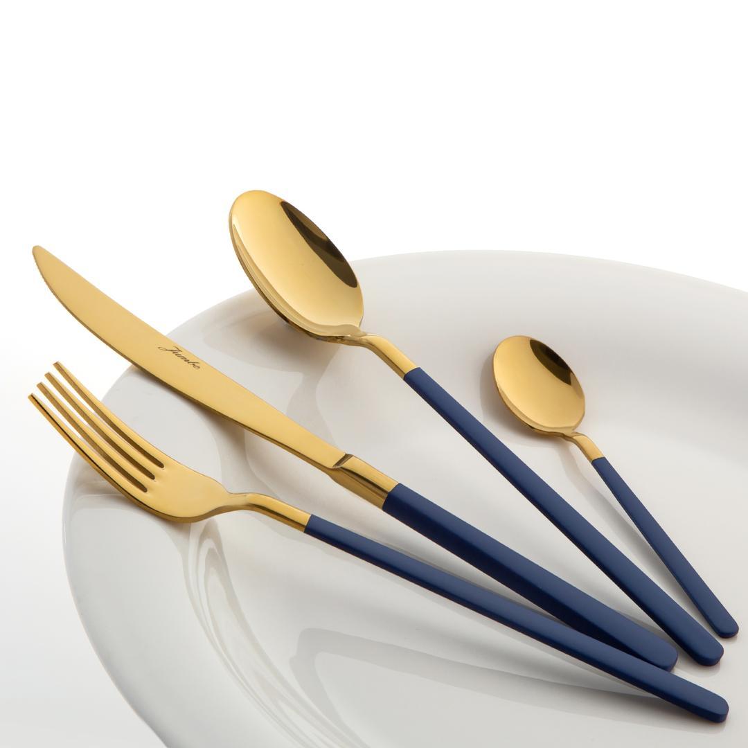 Jumbo Paint Blue Tit.Gold 24 Prç.Tatlı 6 Kşlk Çatal Kaşık Bıçak Takımı