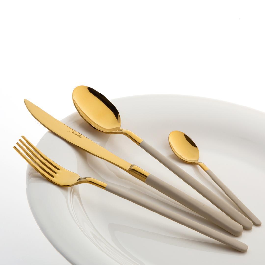 Jumbo Paint Cream Titanyum Gold 24 Parça  Tatlı 6 Kişilik Çatal Kaşık Bıçak Takımı