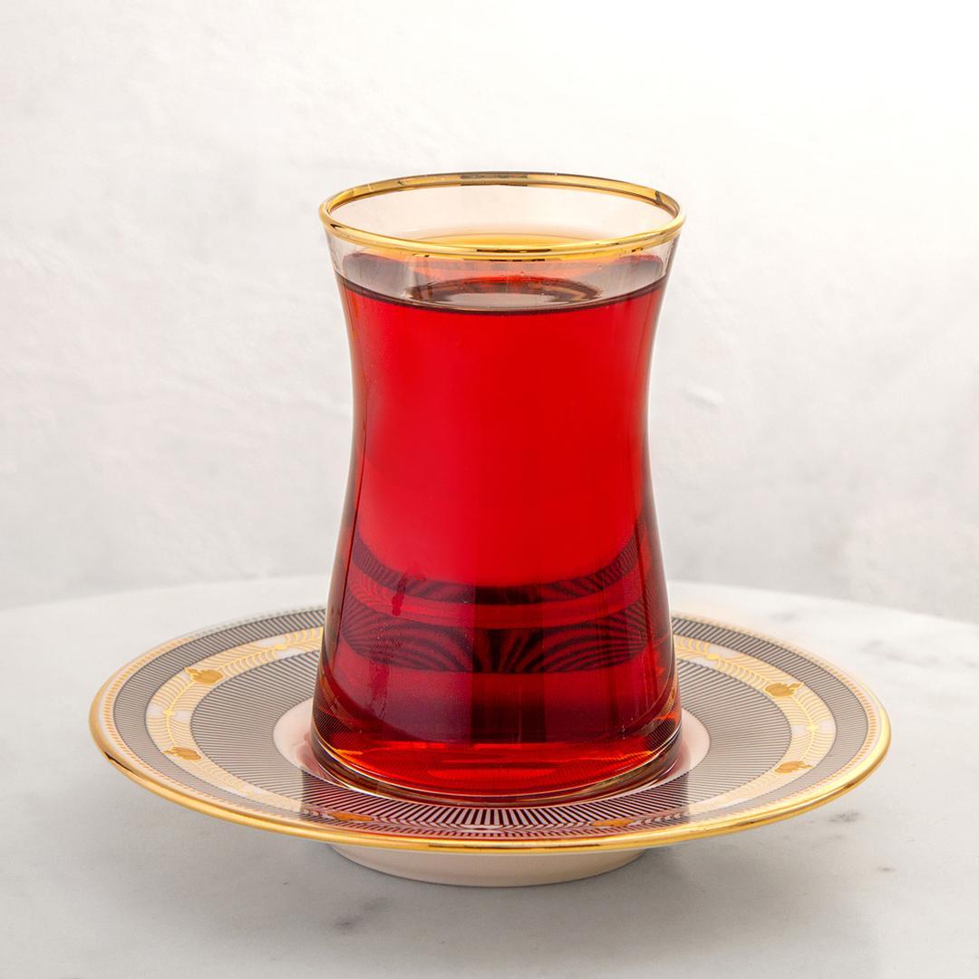 Jumbo Armonia 12 Parça Siyah Çizgili  Çay Bardağı Takımı