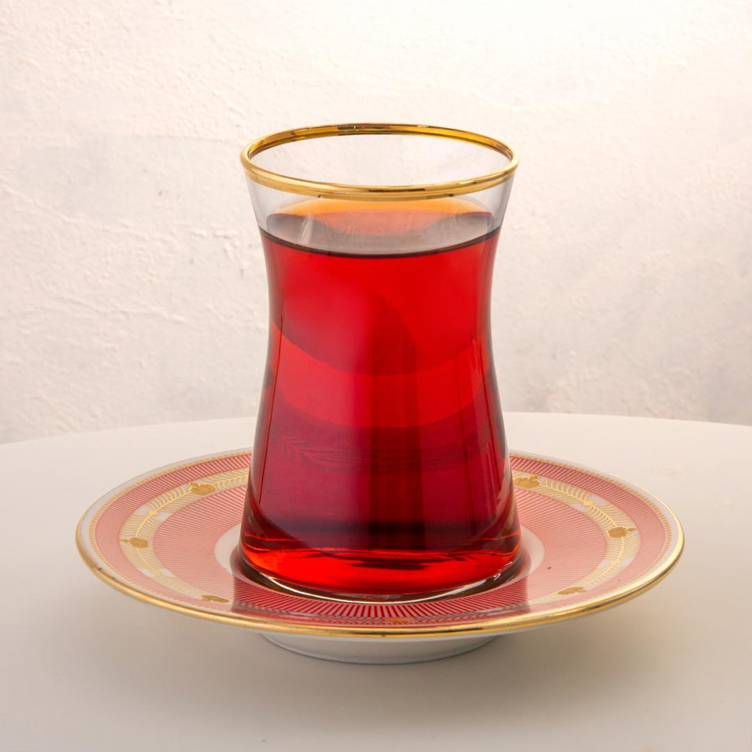 Jumbo Armonia 12 Parça Kırmızı Çizgili  Çay Bardağı Takımı