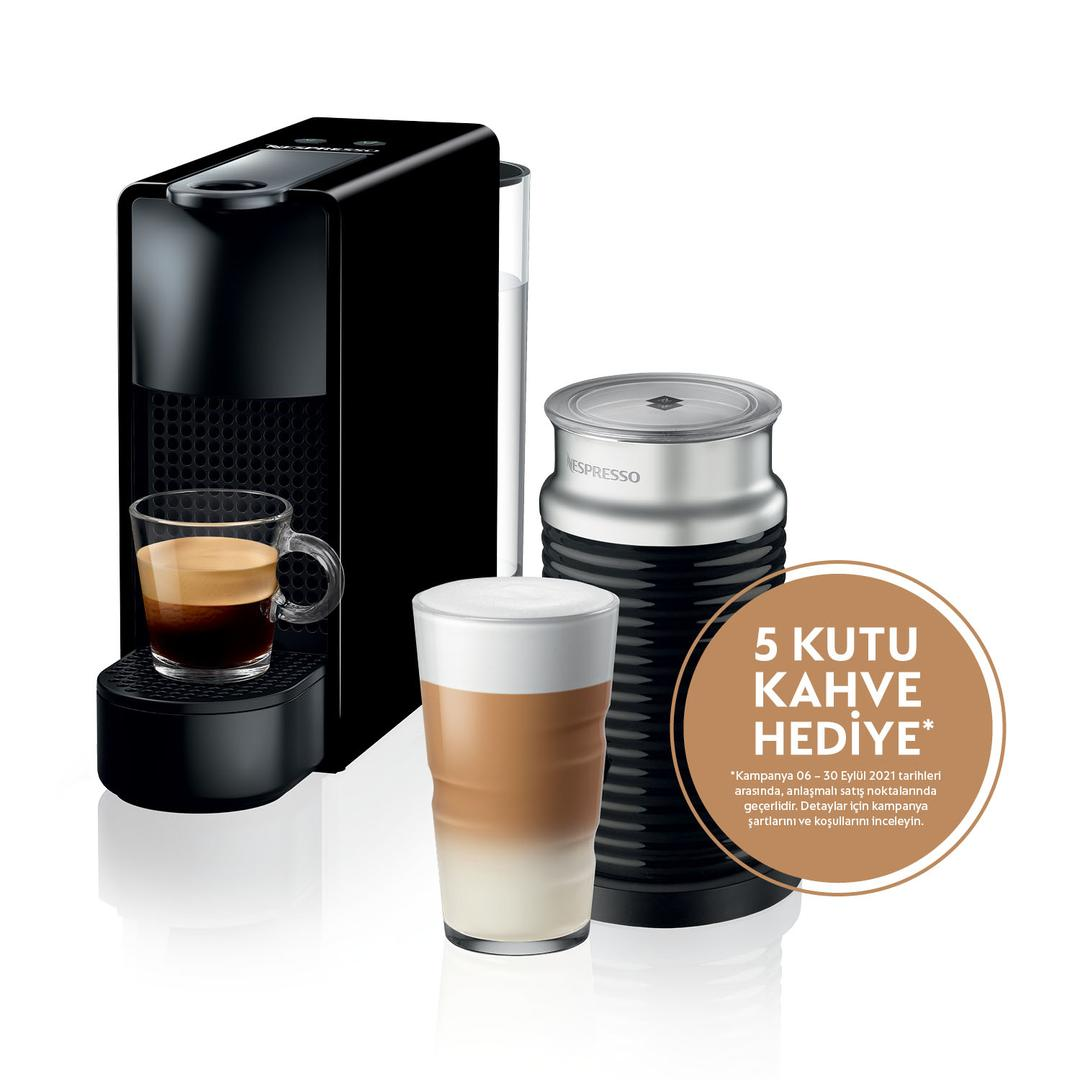Nespresso Essenza Mini C35 Black Bundle Kapsül Kahve Makinesi