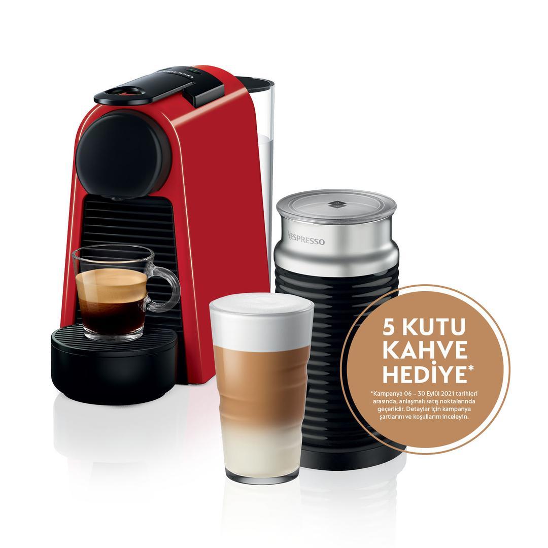 Nespresso Essenza Mini D35 Red Bundle Kapsül Kahve Makinesi