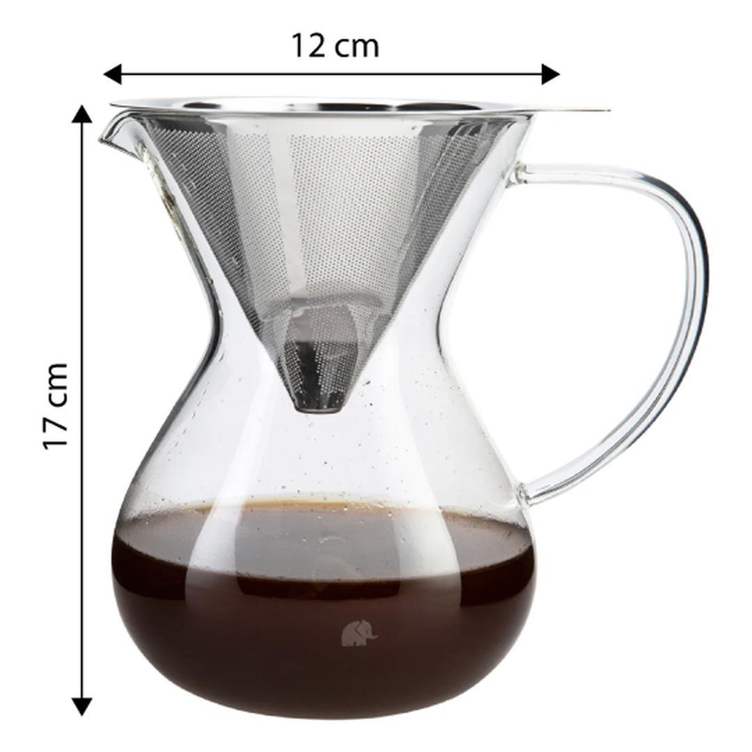 Jumbo Glory  850 Ml Çelik Süzgeçli Cam Kahve Demleme Ekipmanı